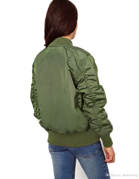 Jaket Bomber Motor Browngreen Army thin womens army green bomber jacket flight jacket ma1 bomber vintage