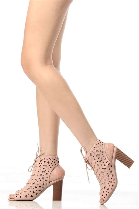 light pink lace up heels light pink faux nubuck chunky lace up heels cicihot heel