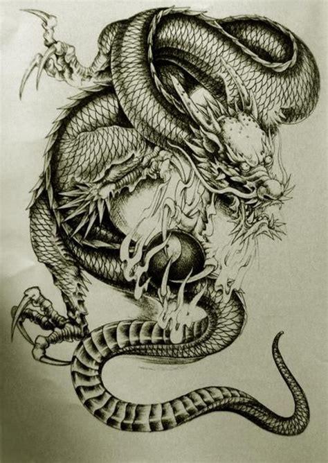 青龙纹身手稿图片