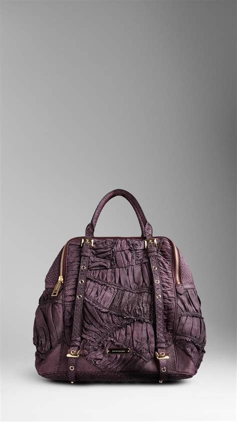 Zagliani Ruched Python Purse by Lyst Burberry Large Ruched Python Bowling Bag In Purple