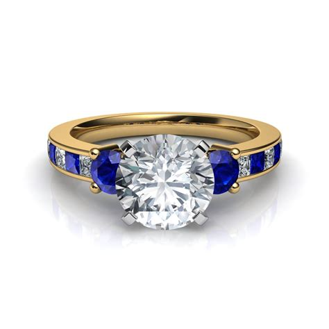 3 with blue sapphire engagement ring in 14k