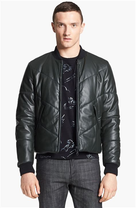 Mens Leather Quilted Bomber Jacket by Kenzo Quilted Leather Bomber Jacket In Black For Lyst