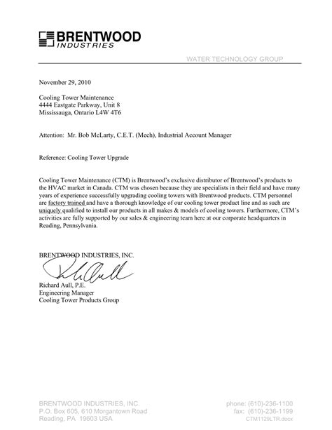 Letter Of Reference For Business Services references ctm is canada s leading cooling tower service