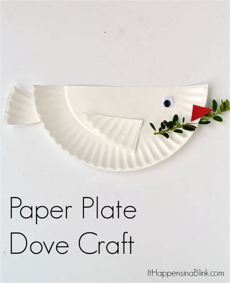 Paper Plate Bible Crafts - dove paper plate