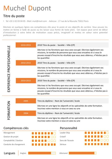 Modele Cv Pour Word by Exemple De Cv Orange Gratuit 224 T 233 L 233 Charger