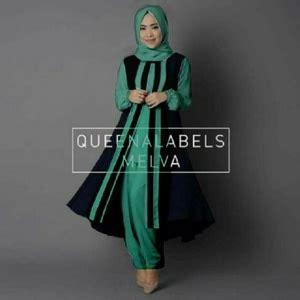 Busana Muslimahtunik Hitam Merah setelan baju muslim tunik celana modis modern model terbaru