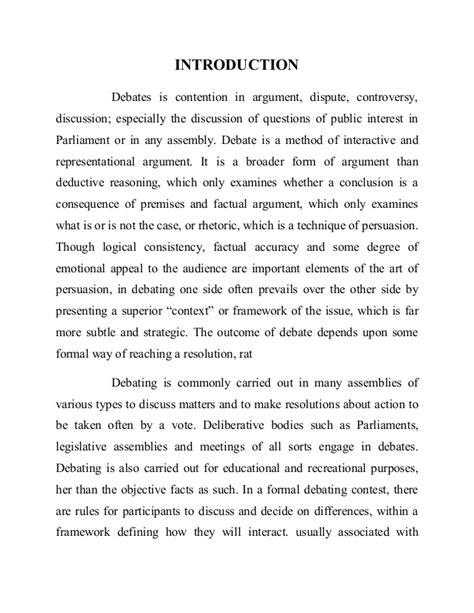 Debate Introduction Speech Sle assignment on pedagogy debates