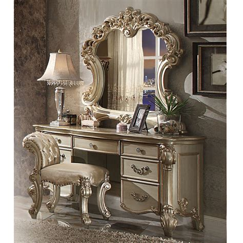 Gold Bedroom Vanity by Vendome Bedroom Luxury Vanity Table Makeup Desk Mirror