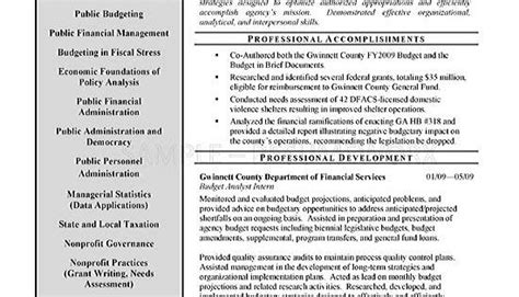 Budget Analyst Resume by Budget Analyst Resume Exle Resume Exles And Budgeting
