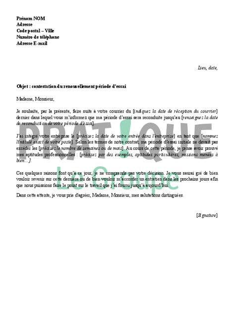 Mod Les De Lettre De D Mission Avec Pr Avis periode d essai des cadres 28 images exemple de lettre