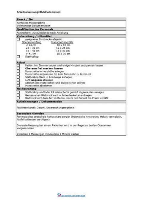 Word Vorlage Arbeitsanweisung Arbeitsanweisung Blutdruck Messen Qualit 228 Tsmanagement In
