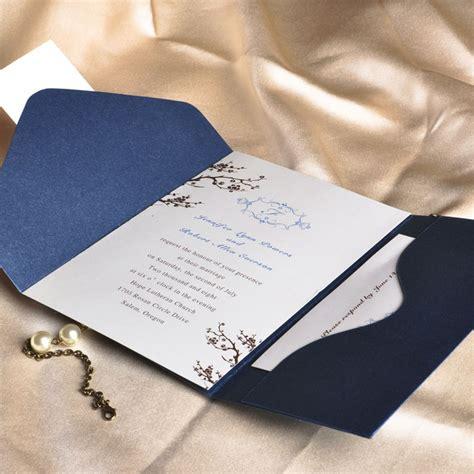monogram wedding invitation set floral decor monogram blue pocket discount wedding invitation sets ewpi013 as low as