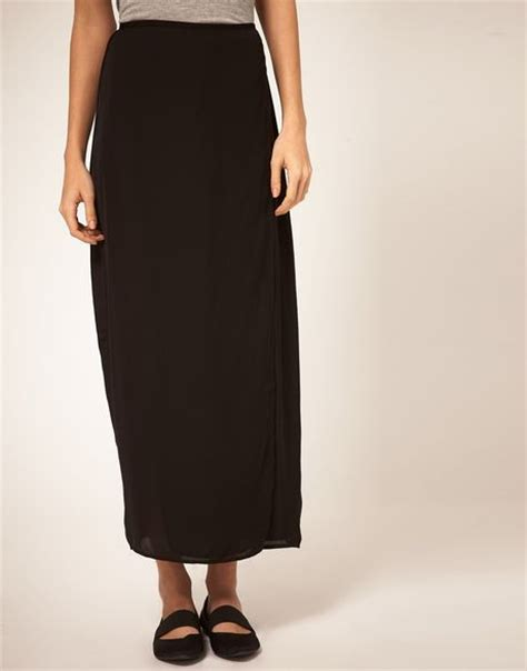 cheap monday maxi skirt with front split in black lyst