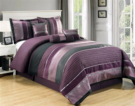 7pc purple black silver stripe chenille comforter set