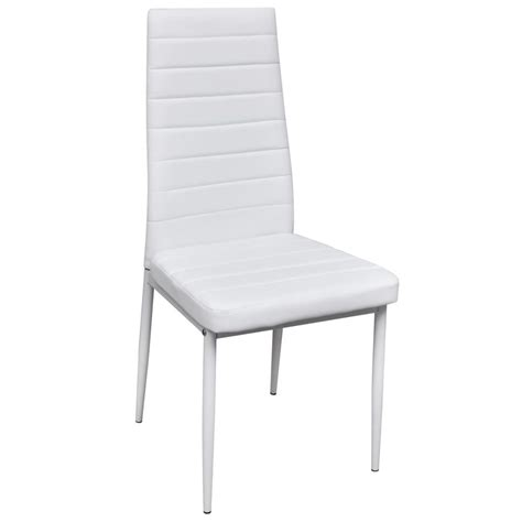 6 White Dining Chairs 6 Pcs White Slim Line Dining Chair Vidaxl Co Uk