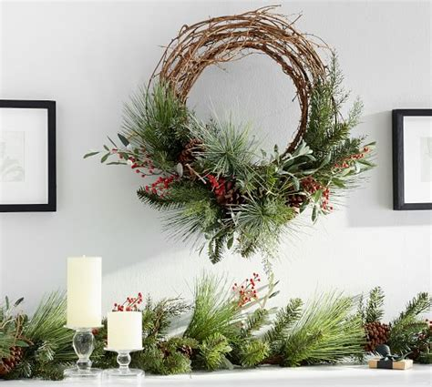 berry pine home decor wreath pottery barn