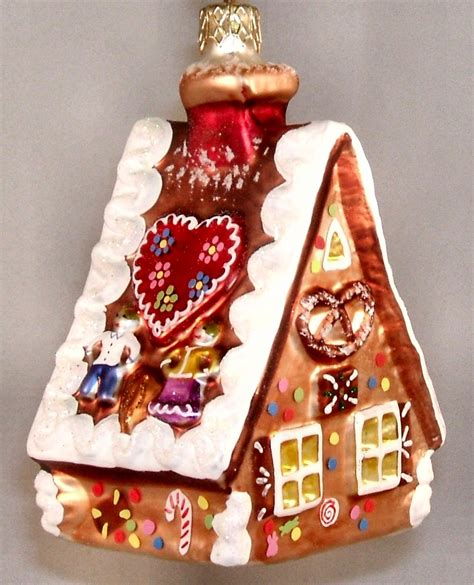 gingerbread house polish glass christmas ornament made in