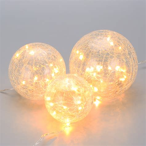 how to light balls set of 3 battery powered crackled glass warm white