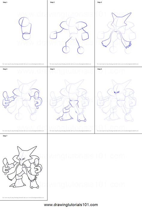 doodle drawing step by step how to draw alakazam from go printable step by