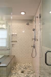 All Metal Kitchen Faucet white subway tile walk in shower transitional bathroom