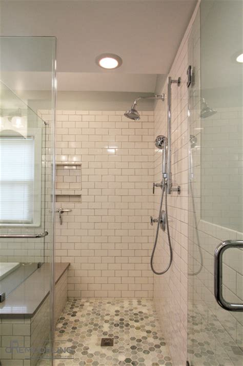 Tiles For Bathroom Showers White Subway Tile Walk In Shower Transitional Bathroom Philadelphia By Dremodeling
