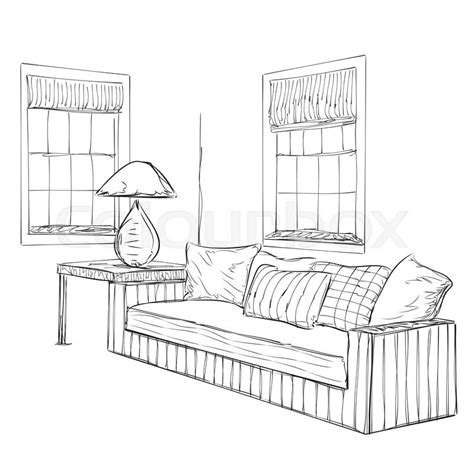 room sketch modern interior room sketch hand drawn furniture stock