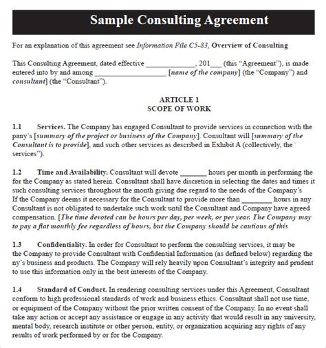 10 Sle Consulting Agreements Sle Templates Simple Consulting Template