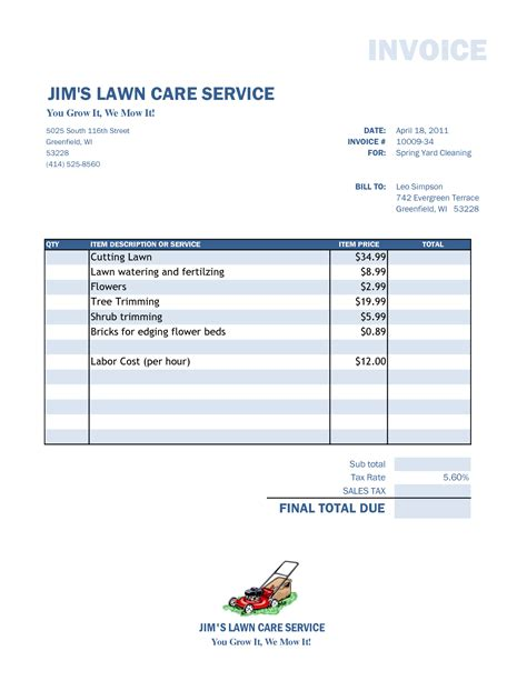 lawn mowing invoice template free free lawn care invoice template free business template