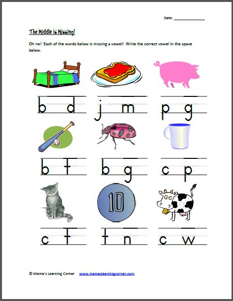 Middle Sound Worksheets by Search Results For Cvc Worksheets Calendar 2015