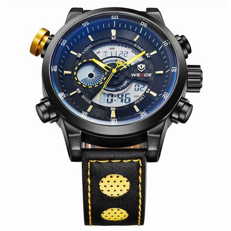 Jam Tangan Sports 30m Water Resistance Wh3301 weide japan quartz leather sports 30m water resistance wh3401 black yellow