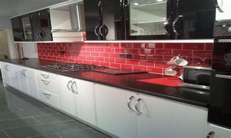 kitchen red black tiles red black  white art red white