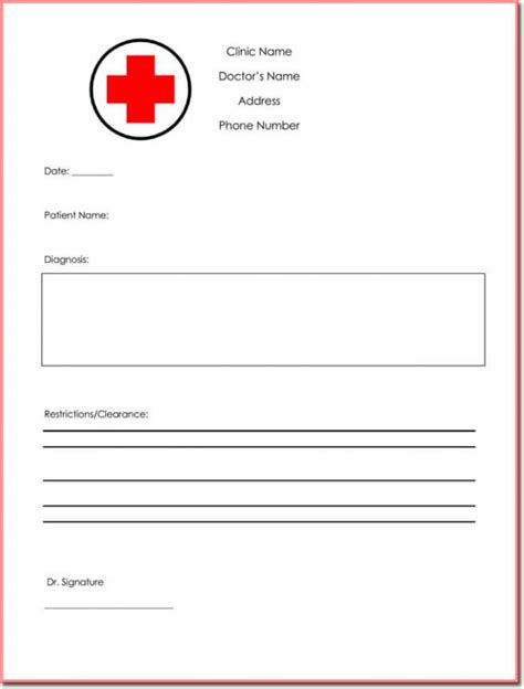 dr note template free doctors note template template business