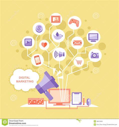 flat design digital marketing concept stock vector image