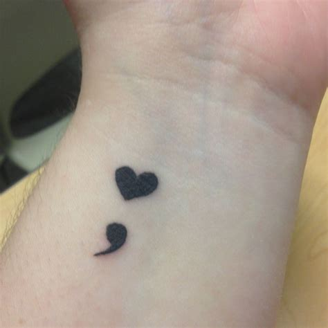 semicolon tattoo on left wrist semi hard semi colons the real mccoy i mean the real me