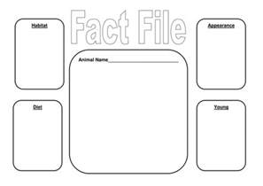 Fact Card Template by Animal Fact File Frame And Matching Activities By