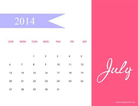 July 2014 Calendar Printable July 2014 Calendars