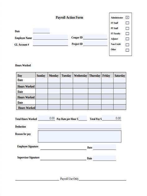 10 payroll action form sle free sle exle