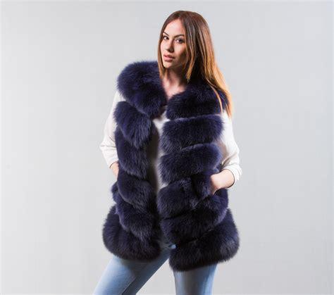 navy blue fox fur vest haute acorn