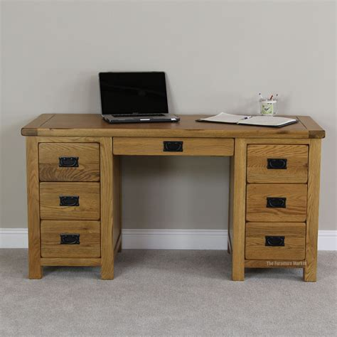 rustic oak large pedestal desk