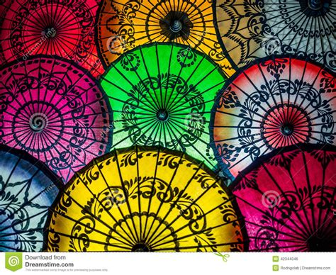 X2 3746 St Umbrella colorful asian umbrellas at traditional burmese market stock photo image 42344046