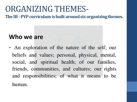 transdisciplinary themes meaning ib pyp intro for teachers