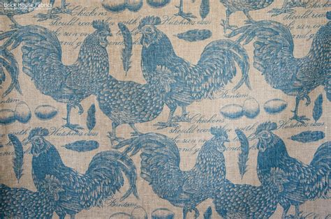 chicken rooster toile fabric document script blue