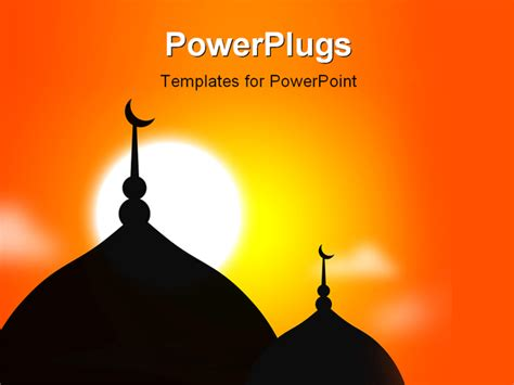 Religious Mosque Silhoutte During Sunset Muslim Community Powerpoint Template Background Of Arab Arabic Powerpoint Template