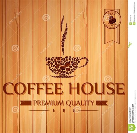 vintage coffee poster  wooden background stock