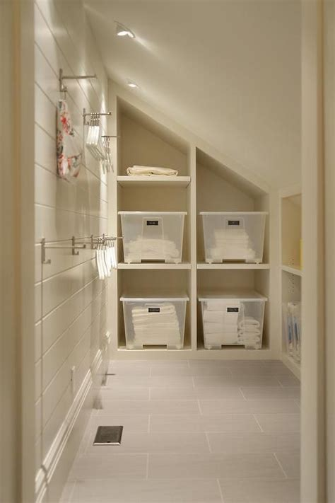 cottage mudroom features  sloped ceiling fitted  pot