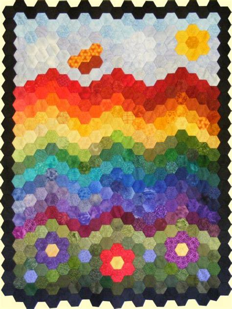 The Rainbow Quilt Pattern by 17 Best Images About Quilting Hexagon On Free