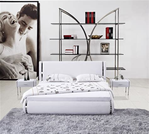modern master bedroom furniture stainless steel white modern white leather high back soft bed stainless steel