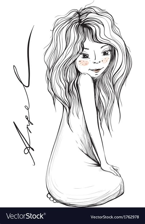 long hair stock photos royalty free images vectors young girl with long hair inky drawing royalty free vector