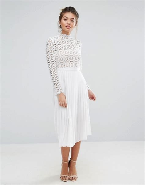 white crochet lace midi dress with pleated skirt elsie s attic