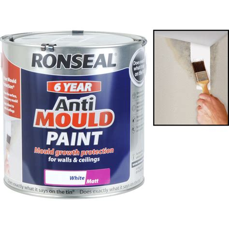 anti mold bathroom paint ronseal 6 year anti mould paint 2 5l matt white toolstation